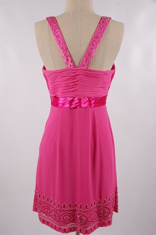 SUE WONG NOCTURNE FUCHSIA BEADED DRESS,SIZE 12 - 4