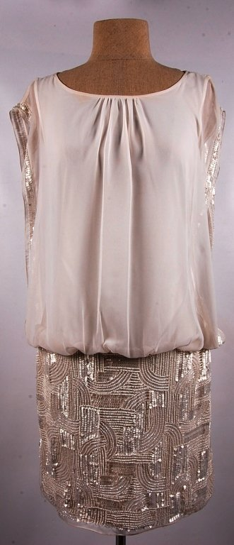 AIDEN MATTOX IVORY BEADED SLEEVELESS DRESS, SZ 6