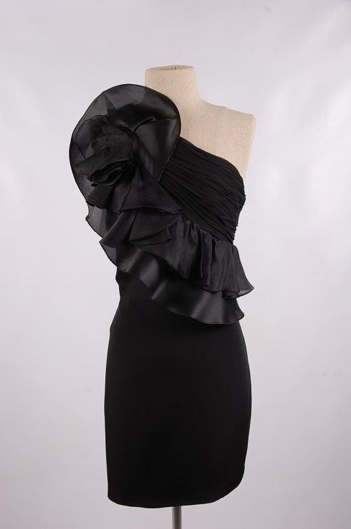 NOTTE BY MARCHESA BLACK ONE SHOULDER DRESS, SZ 8