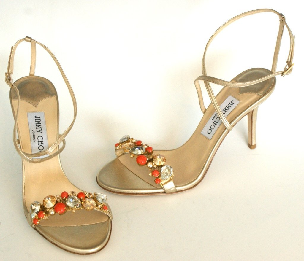JIMMY CHOO SANDALS w GEMSTONES IN GOLD, SZ 7