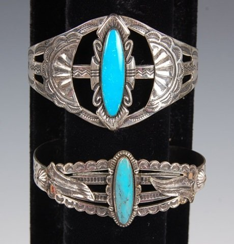 TWO STERLING & TURQUOISE CUFF BRACELETS BY BELL