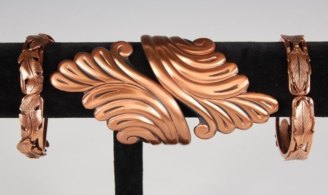 THREE HINGED SOLID COPPER BRACELETS BY BELL