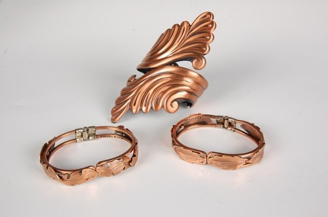 THREE HINGED SOLID COPPER BRACELETS BY BELL - 2