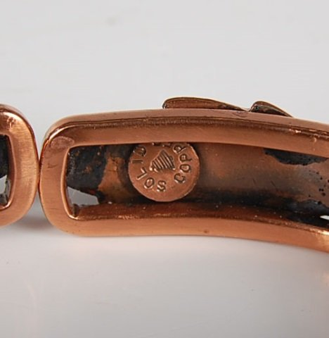 THREE HINGED SOLID COPPER BRACELETS BY BELL - 4
