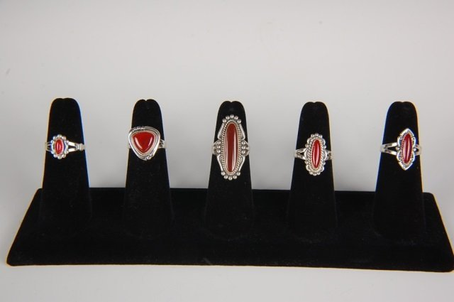 FIVE STERLING & CARNELIAN RINGS BY BELL, SZ 6.5