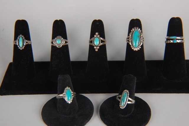 EIGHT STERLING & TURQUOISE RINGS BY BELL, SZ 6.5