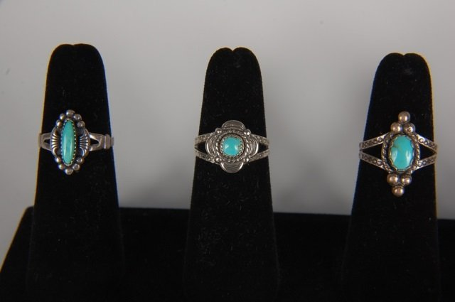 EIGHT STERLING & TURQUOISE RINGS BY BELL, SZ 6.5 - 2