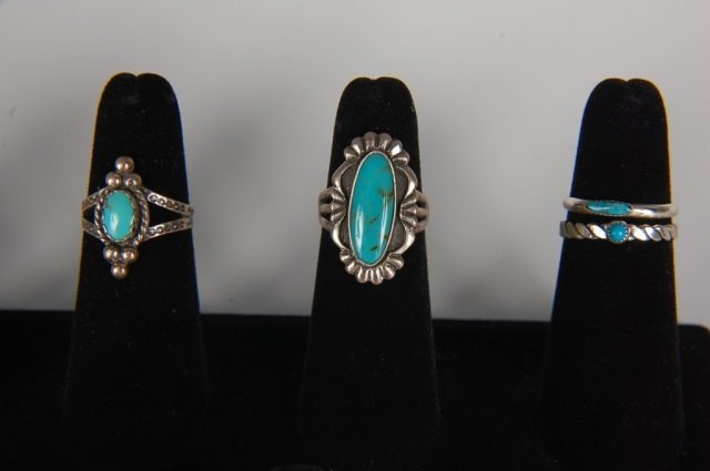EIGHT STERLING & TURQUOISE RINGS BY BELL, SZ 6.5 - 3