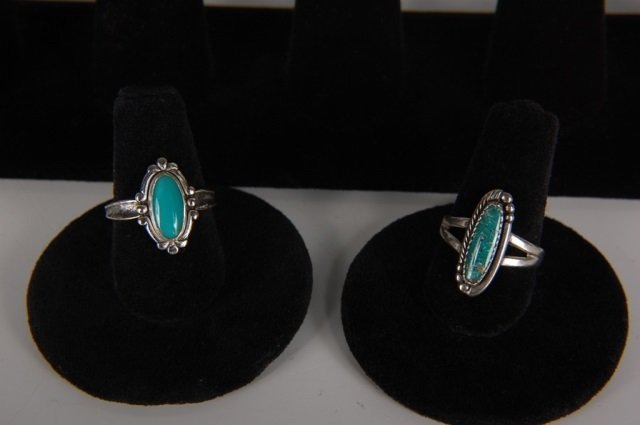 EIGHT STERLING & TURQUOISE RINGS BY BELL, SZ 6.5 - 4