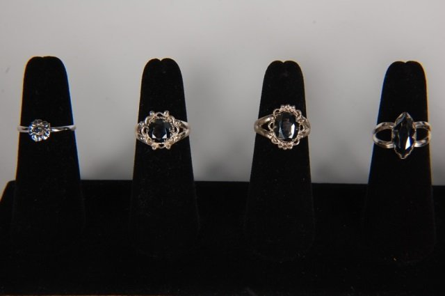 FOUR STERLING & HEMATITE RINGS BY BELL, SZ 6.5
