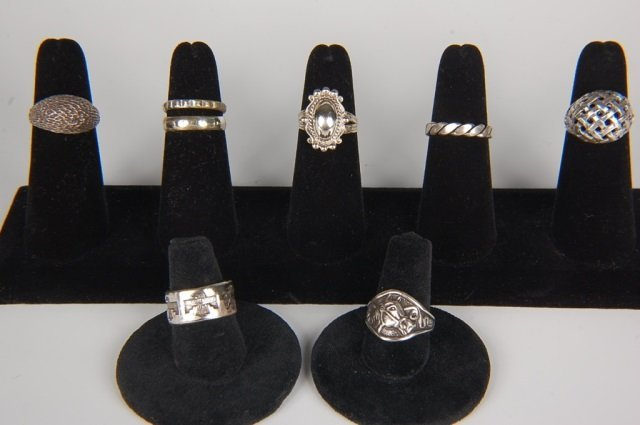 EIGHT STERLING SILVER RINGS BY BELL, SZ 6.5