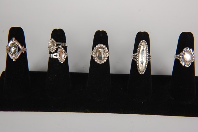 SIX STERLING & ABALONE RINGS BY BELL, SZ 6 TO 6.5