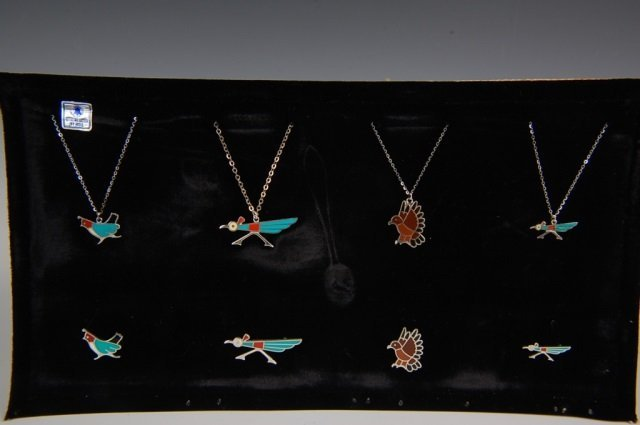 TWELVE STERLING & ENAMEL INLAY PENDANTS & MORE