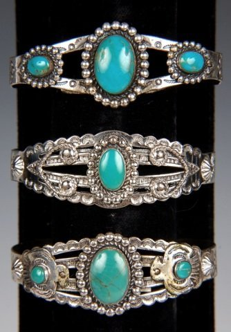 THREE STERLING & TURQUOISE CUFF BRACELETS BY BELL