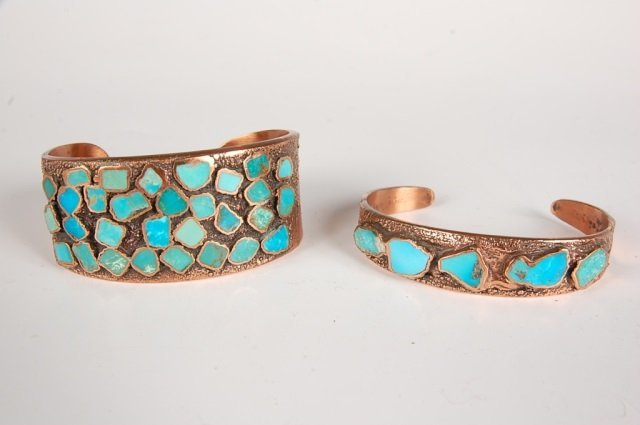 TWO CORINTHIAN LINE COPPER CUFF BRACELETS BY BELL