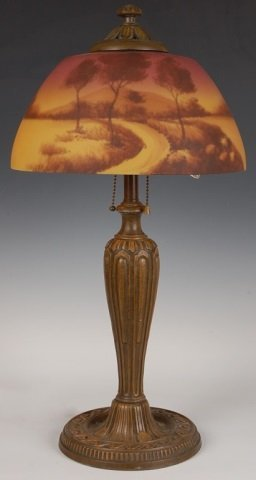 CIRCA 1920s REVERSE PAINTED TABLE LAMP