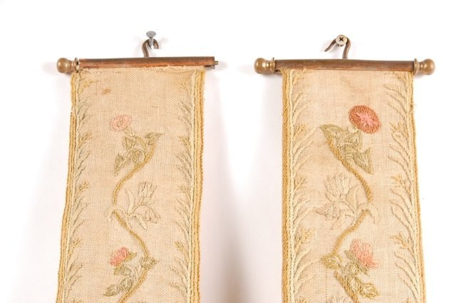 PAIR OF 18TH C. NEEDLEWORK BELL PULLS - 4