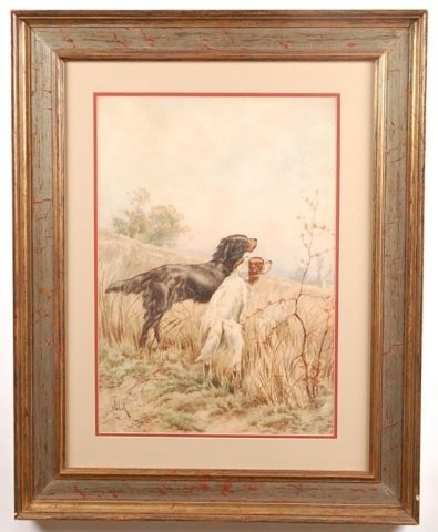 CIRCA 1900 WATERCOLOR OF ENGLISH SETTER HUNTING DOGS