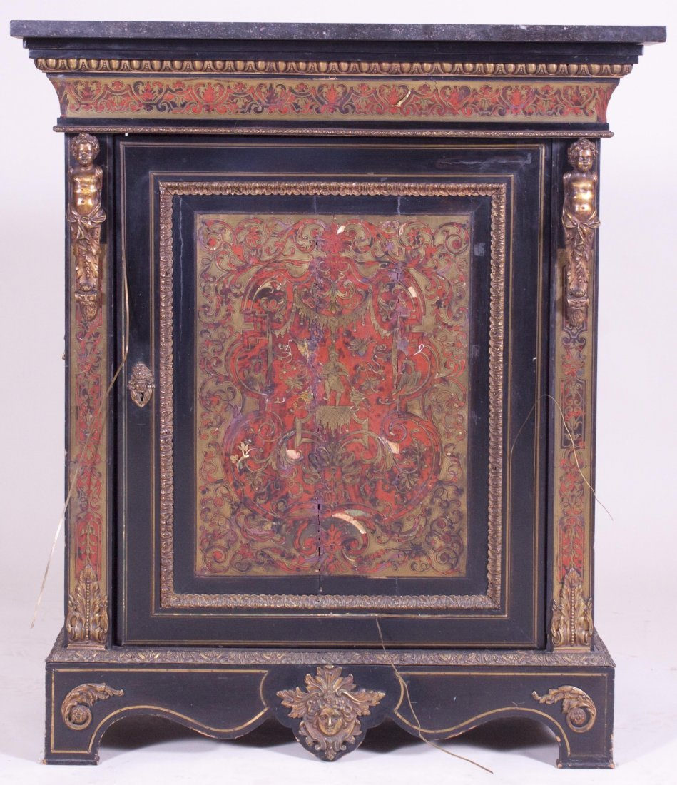 LATE 19TH C. BOULLE STYLE CABINET W/ BRONZE MOUNTS