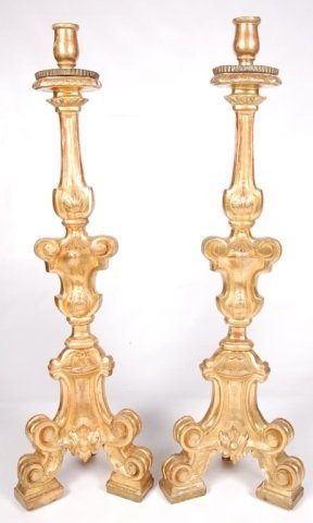 EXCEPTIONAL PAIR OF 43 INCH 19TH C. ALTAR STICKS