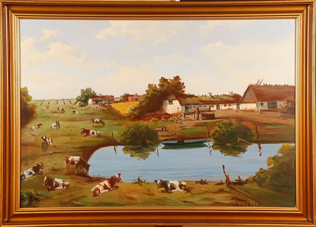 EARLY 20TH C OIL ON CANVAS PASTORAL SCENE
