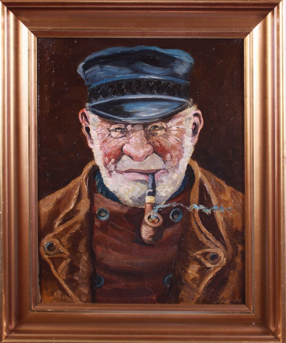 KATHE REUS OIL ON CANVAS OF A SEA CAPTAIN