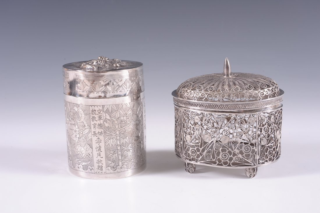 CHINESE EXPORT SILVER CRICKET CAGE & CONTAINER