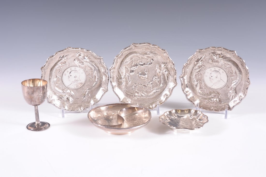 SIX PIECES OF CHINESE EXPORT SILVER