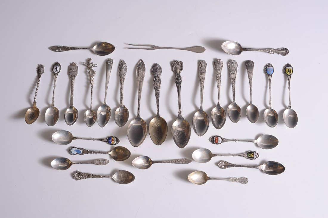 COLLECTION OF 27 STERLING SILVER SOUVENIR SPOONS