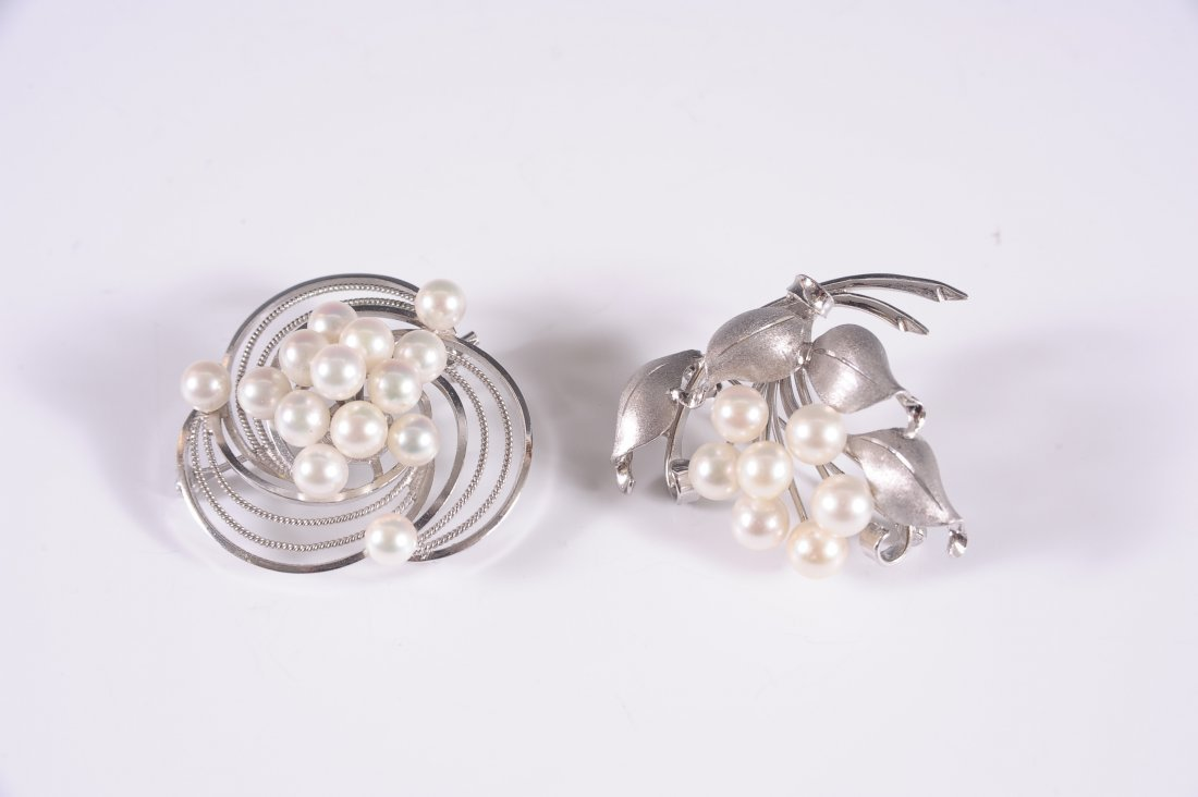 TWO VINTAGE PEARL AND STERLING BROOCHES