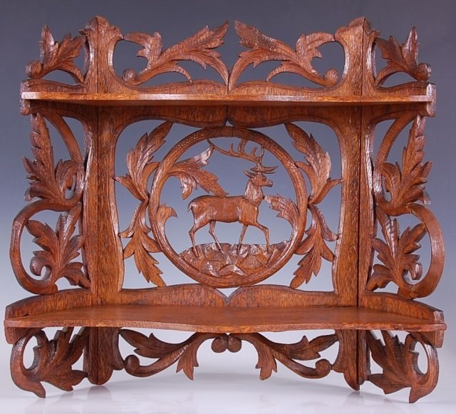 19TH C. CARVED FRETWORK SHELF WITH STAG