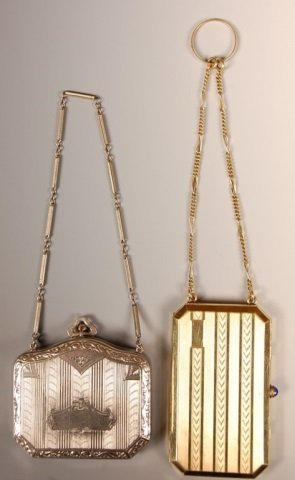 TWO METAL CHAINED VANITY CASES - 2