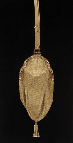 14K GOLD MESH BAG W DIAMONDS & SAPPHIRES