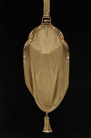 14K GOLD MESH BAG W DIAMONDS & SAPPHIRES - 2
