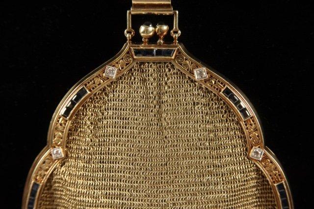 14K GOLD MESH BAG W DIAMONDS & SAPPHIRES - 3