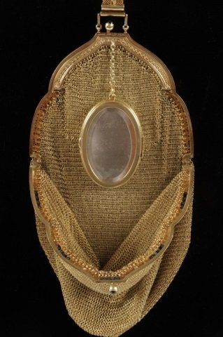 14K GOLD MESH BAG W DIAMONDS & SAPPHIRES - 5