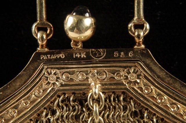 14K GOLD MESH BAG W DIAMONDS & SAPPHIRES - 8