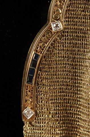 14K GOLD MESH BAG W DIAMONDS & SAPPHIRES - 9