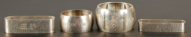 GROUP OF CHICAGO SILVERSMITH HAMMERED STERLING NAPKING