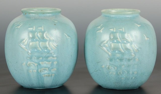 MATCHED PAIR OF ROOKWOOD ART POTTERY VASES