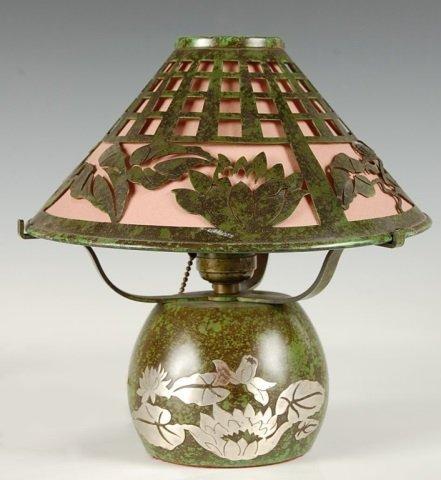 HEINTZ ART STERLING ON BRONZE TABLE LAMP