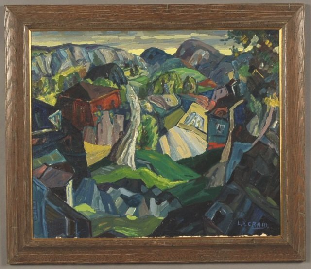LEIGHTON R. CRAM (1895-1981) OIL ON CANVAS 'ROCK FORMS