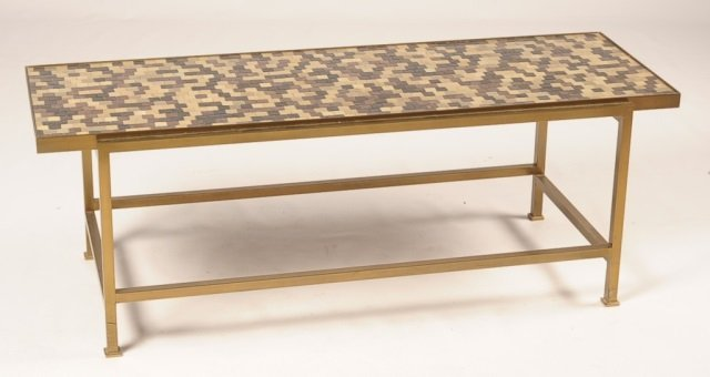 DUNBAR BRASS TRIM COFFEE TABLE WITH MURANO GLASS TILES