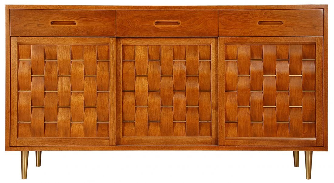 EDWARD WORMLEY FOR DUNBAR CREDENZA WITH WOVEN FRONT