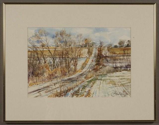 SIGNED WATERCOLOR BY KLAUS KUNTSCHER, KANSAS