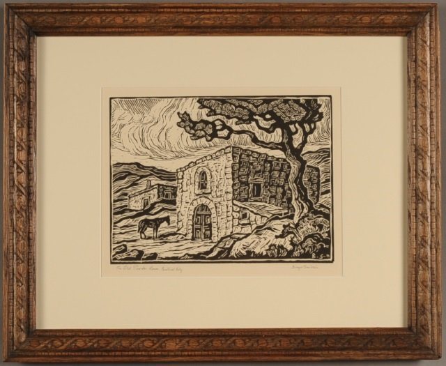 BIRGER SANDZEN (1871-1954) PENCIL SIGNED LINOCUT 'THE