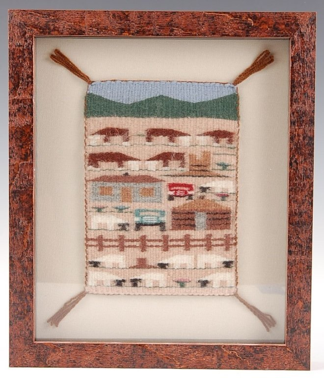 IRMA BEGAY FRAMED MINIATURE PICTORIAL NAVAJO WEAVING