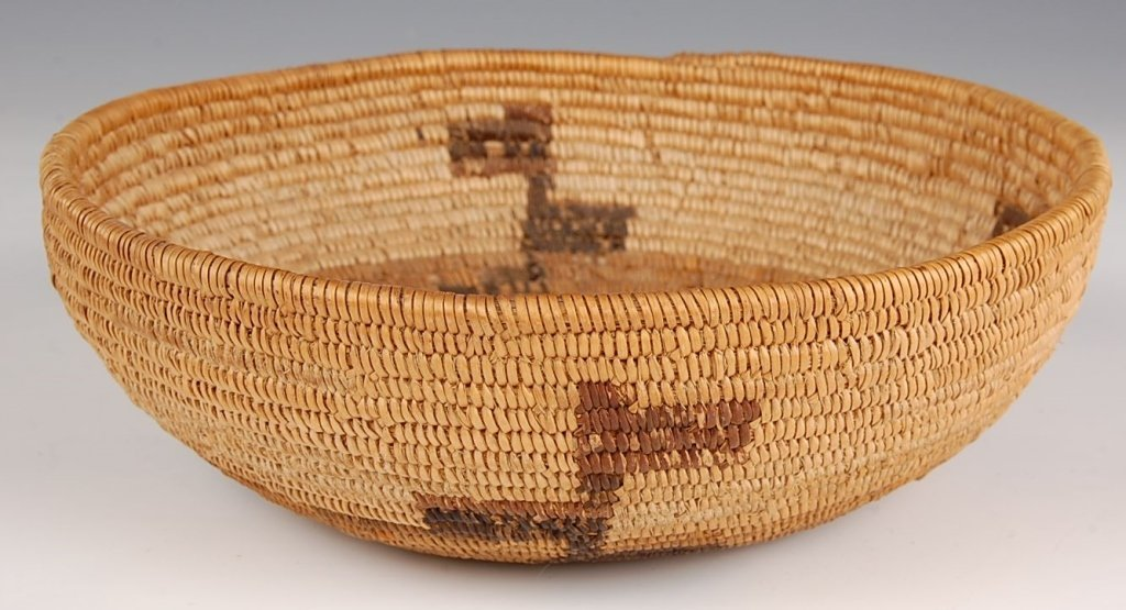 MISSION COILED BASKET WITH ABSTRACT DESIGNS