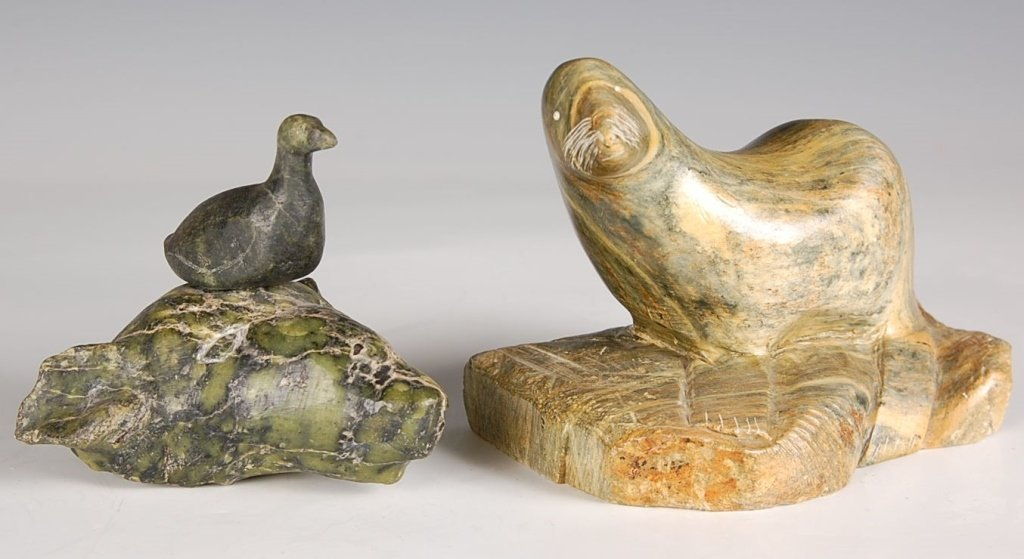 TWO ALASKAN SOAPSTONE CARVINGS