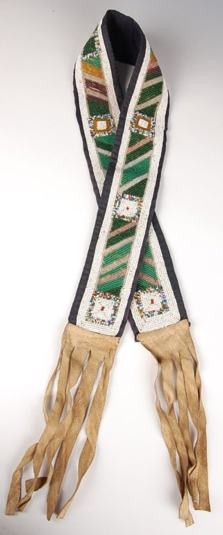 SIOUX BEADED SHOULDER THROW WITH HIDE FRINGE